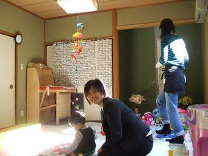 日当たりのいい和室で遊びます
