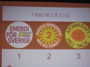 スウェーデンの原発国民投票の時には、3つの意見に別れ、このバッジを付けて自分の意見を表明した